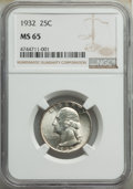 Washington Quarters, 1932 25C MS65 NGC. NGC Census: (380/101). PCGS Population: (682/264). CDN: $200 Whsle. Bid for NGC/PCGS MS65. Mintage 5,404...