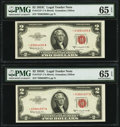 Fr. 1512* $2 1953C Legal Tender Star Notes. Two Consecutive Examples. PMG Gem Uncirculated 65 EPQ