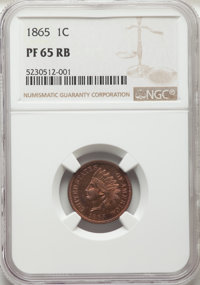 1865 1C PR65 Red and Brown NGC. NGC Census: (30/11). PCGS Population: (25/9). CDN: $1,400 Whsle. Bid for NGC/PCGS PR65...