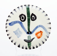 Pablo Picasso (Spanish, 1881-1973) Visage No. 111, circa 1963 Painted and glazed white earthenware <