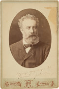 Autographs:Authors, Jules Verne Cabinet Card Inscribed and Signed...