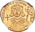 Ancients:Byzantine, Ancients: Philippicus (Bardanes) (AD 711-713). AV solidus (20mm, 4.44 gm, 5h). NGC Gem MS★ 5/5 - 5/5....