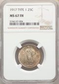 Standing Liberty Quarters, 1917 25C Type One MS67 Full Head NGC. NGC Census: (63/0). PCGS Population: (87/0). CDN: $2,750 Whsle. Bid for NGC/PCGS MS67...