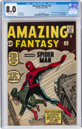 Silver Age (1956-1969):Superhero, Amazing Fantasy #15 (Marvel, 1962) CGC VF 8.0 Off-white pages....