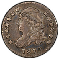 1814 10C STATESOF XF40 PCGS. CAC. PCGS Population: (3/9 and 0/1+). NGC Census: (0/0 and 0/0+). CDN: $1,350 Whsle. Bid fo...