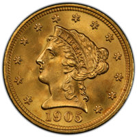 1905 $2 1/2 MS66+ PCGS. CAC. PCGS Population: (340/109 and 32/13+). NGC Census: (341/115 and 18/12+). CDN: $900 Whsle. B...