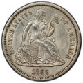 1866-S 10C MS62 PCGS. F-103, High R.4. The 1866-S Seated Liberty dime is rarely seen in Mint State, coming from a minta...