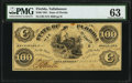 Obsoletes By State:Florida, Tallahassee, FL- State of Florida $100 Oct. 10, 1861 Cr. 2 PMG Choice Uncirculated 63.. ...