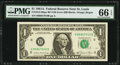 Fr. 1912-H $1 1981A Federal Reserve Note with Back Plate Number 129 at Left. PMG Gem Uncirculated 66 EPQ