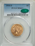 1916-S $5 MS62+ PCGS. CAC. PCGS Population: (386/368 and 7/37+). NGC Census: (354/149 and 5/9+). CDN: $1,650 Whsle. Bid...