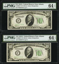Small Size:Federal Reserve Notes, Fr. 2006-F $10 1934A Federal Reserve Notes. Two Examples. PMG Choice Uncirculated 64 EPQ.. ... (Total: 2 notes)