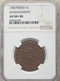 1788 1C Massachusetts Cent, Period, AU58+ NGC. NGC Census: (14/28 and 1/2+). PCGS Population: (13/18 and 0/0+). AU58...