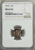 Mercury Dimes: , 1934 10C MS65 Full Bands NGC. NGC Census: (222/274). PCGS Population: (656/764). CDN: $100 Whsle. Bid for NGC/PCGS MS65. Mi...