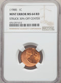 Errors, (1988) 1C Lincoln Cent -- Struck 30% Off Center -- MS64 Red NGC....