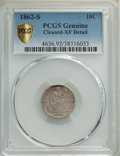 1862-S 10C -- Cleaning -- PCGS Genuine. XF Details. Mintage 180,750. ...(PCGS# 4636)