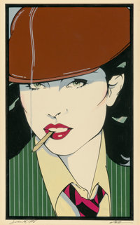 Patrick Nagel (American, 1945-1984) Untitled, 1978 Acrylic on board 11-5/8 x 7 inches (29.5 x 17