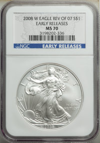 2008-W $1 Silver Eagle, Reverse of 2007, Burnished, Early Releases MS70 NGC. NGC Census: (3191). PCGS Population: (206)...