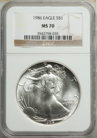 1986 $1 Silver Eagle MS70 NGC. NGC Census: (2613). PCGS Population: (267). CDN: $515 Whsle. Bid for NGC/PCGS MS70. Minta...