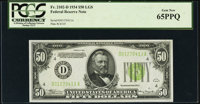 Fr. 2102-D $50 1934 Light Green Seal Federal Reserve Note. PCGS Gem New 65PPQ