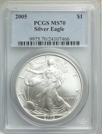 2005 $1 Silver Eagle MS70 PCGS. PCGS Population: (1001). NGC Census: (4646). CDN: $110 Whsle. Bid for NGC/PCGS MS70. Min...