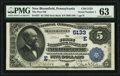 National Bank Notes:Pennsylvania, New Bloomfield, PA - $5 1882 Date Back Fr. 537 The First National Bank Ch. # (E)5133 PMG Choice Uncirculated 63.. ...