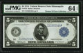 Large Size:Federal Reserve Notes, Fr. 878 $5 1914 Federal Reserve Note PMG Choice Uncirculated 64 EPQ.. ...
