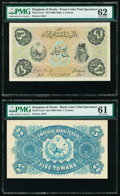 World Currency, Iran Kingdom of Persia, Imperial Bank 5 Tomans ND (1890-1923) Pick 3cts Front and Back Color Trial Specimen PMG Uncirculat... (Total: 2 notes)