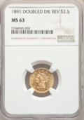 Liberty Quarter Eagles: , 1891 $2 1/2 Doubled Die Reverse, FS-801, MS63 NGC. PCGS Population: (3/9). MS63. Mintage 10,960. ...