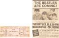 Music Memorabilia:Memorabilia, The Beatles Unused Concert Ticket For First US Concert at Washington Coliseum With Newspaper Clipping (1964)....
