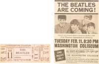 The Beatles Unused Concert Ticket For First US Concert at Washington Coliseum With Newspaper Clipping (1964)
