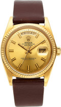 """Timepieces:Wristwatch, Rolex, Ref. 1803 Oyster Perpetual Day-Date """"Wide Boy"""", 18k Gold, Circa 1972. ..."""