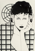 Paintings, Patrick Nagel (American, 1945-1984). Earphones On. Acrylic on board. 16 x 11 inches (40.6 x 27.9 cm). Not signed. Pr...