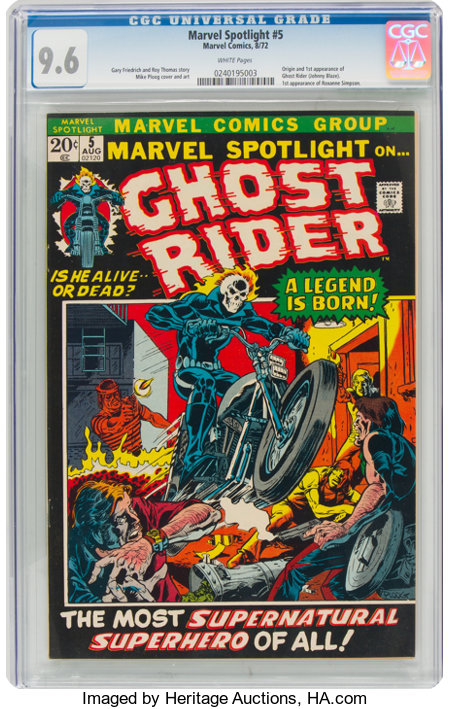 Marvel Spotlight #5 Ghost Rider (Marvel, 1972) CGC NM+ 9.6 White pages....