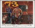 Autographs:Others, 1973 New York Knicks Multi-Signed Lithograph, Lot of 15.
