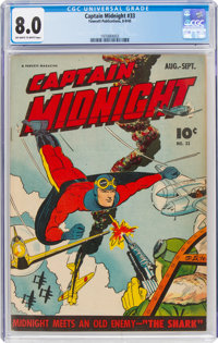 Captain Midnight #33 (Fawcett Publications, 1945) CGC VF 8.0 Off-white to white pages