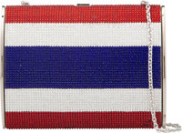 "Judith Leiber Full Bead Red, Silver, & Blue Crystal Minaudière Evening Bag Condition: 2 6"" Width"