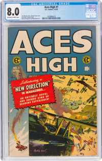 Aces High #1 (EC, 1955) CGC VF 8.0 Off-white to white pages