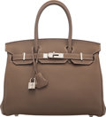 "Luxury Accessories:Bags, Hermès 30cm Etoupe Togo Leather Birkin Bag with Palladium Hardware. Q Square, 2013. Condition: 3 . 12"" Width x 8.5..."