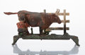 Collectible, J & E Stevens Co. (American, 19th Century). Milking Cow Mechanical Bank, circa 1888, . Painted cast iron. 5-1/4 x 11 x 3...