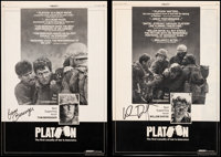 "Platoon (Orion, 1986). Very Fine+ on Linen. Autographed Trade Ads (2) (10"" X 14.75""). Academy Award Winners..."