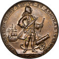 Betts Medals, 1739 Medal Admiral Vernon, Porto Bello, MS61 NGC. Adams-Chao-PBvi-13-Q, R.5. AE....