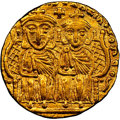 Ancients:Byzantine, Ancients: Constantine VI (AD 780-797), with Leo IV the Khazar, Leo III, and Constantine V. AV solidus (20mm, 4.40 gm, 5h). NGC Choice XF...
