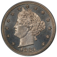 1883 5C No Cents PR65 PCGS. PCGS Population: (310/101 and 1/5+). NGC Census: (252/107 and 0/1+). CDN: $450 Whsle. Bid fo...