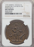 Betts Medals, 1739 Medal Admiral Vernon, Porto Bello -- Edge Filing -- NGC Details. Unc. Betts-236, Adams-Chao-PBvi-16-W, R.5. AE....