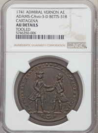 1741 Medal Admiral Vernon, Cartagena -- Tooled -- NGC Details. AU. Betts-318, Adams-Chao-CAvo-3-D, R.5. AE