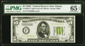 Fr. 1953-F $5 1928C Light Green Seal Federal Reserve Note. PMG Gem Uncirculated 65 EPQ