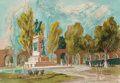 Works on Paper, Bror Utter (American, 1913-1993). Monument Circle, 1968. Watercolor on paper. 15-1/2 x 22-1/4 inches (39.4 x 56.5 cm) (s...