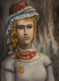 Paintings, Bror Utter (American, 1913-1993). Portrait of Lady. Oil on canvasboard. 16 x 11-7/8 inches (40.6 x 30.2 cm). Signed in f...