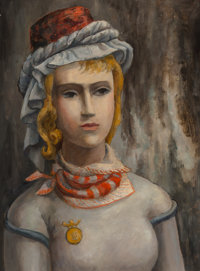 Bror Utter (American, 1913-1993) Portrait of Lady Oil on canvasboard 16 x 11-7/8 inches (40.6 x 3