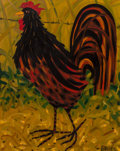 Paintings, David Bates (American, b. 1952). Rooster. Oil on canvas. 29-3/4 x 23-1/2 inches (75.6 x 59.7 cm). Signed lower right: ...